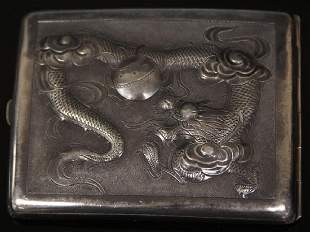 CHINESE STERLING COMPACT WITH DRAGON