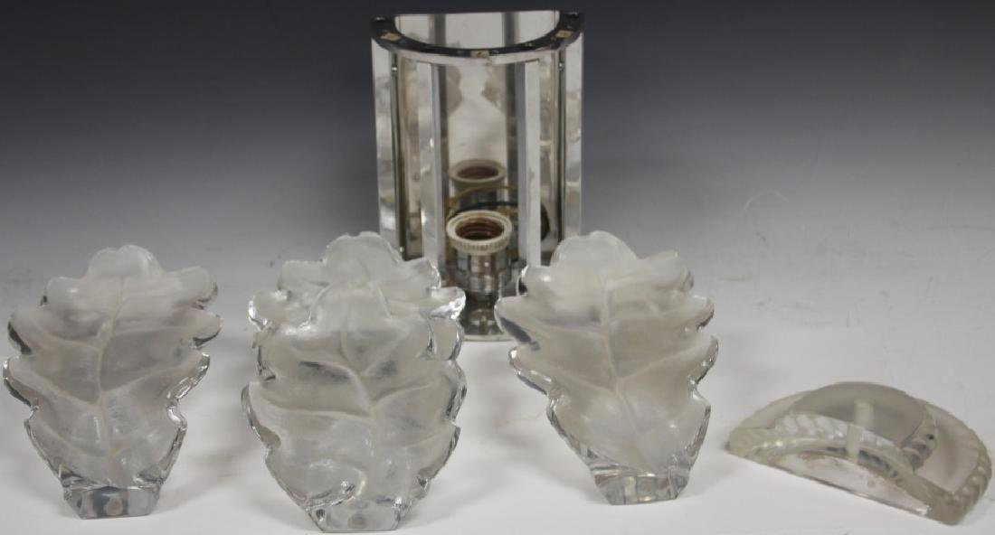 LALIQUE CRYSTAL WALL SCONCE, SIGNED