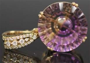 AMITRINE DIAMOND 14KT YELLOW GOLD PENDANT