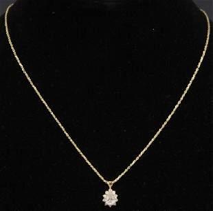DIAMOND 14KT YELLOW GOLD PENDANT CHAIN