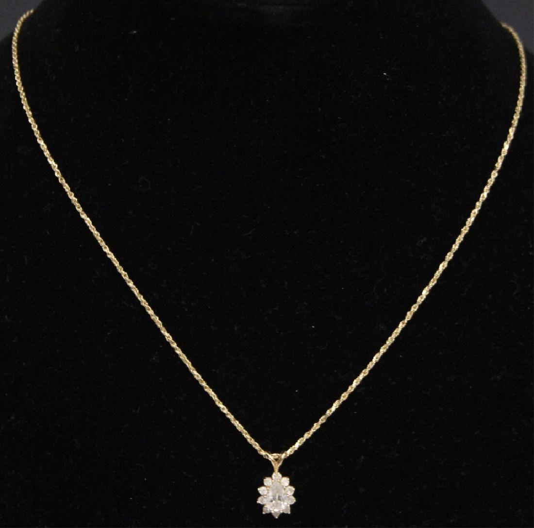 DIAMOND 14KT YELLOW GOLD PENDANT & CHAIN