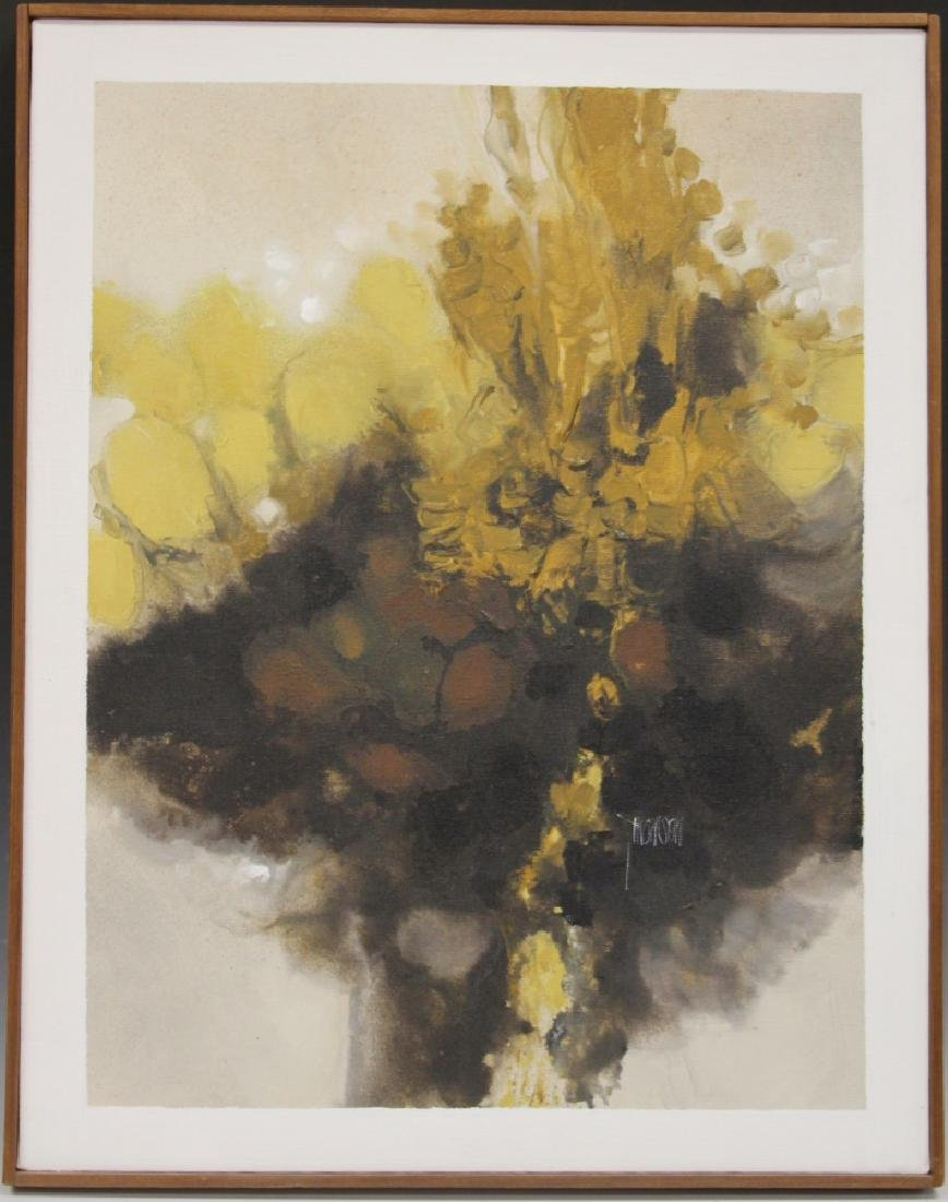 FRAMED ABSTRACT OIL ON CANVAS, ARTIST SIGNED