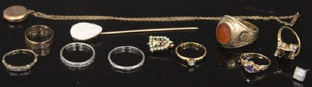 LOT OF (12) 14KT-10KT VINTAGE JEWLERY INCL. RINGS