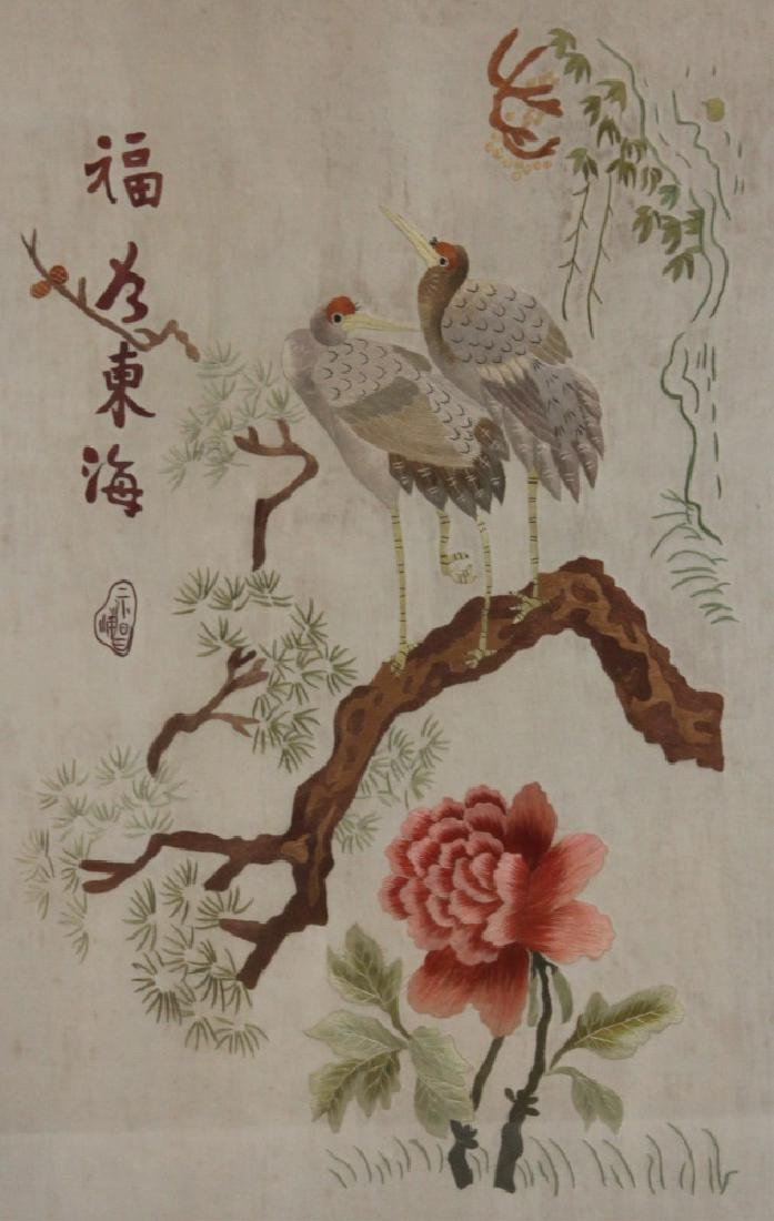 VINTAGE JAPANESE SILK EMBROIDERED TAPESTRY - 2