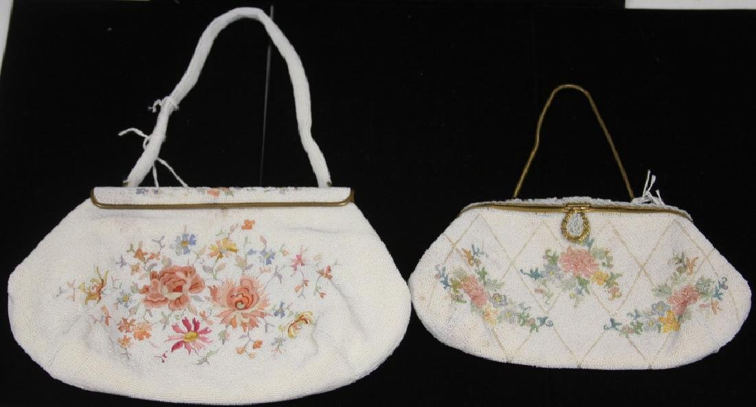 LOT OF (2) VINTAGE BEADED BAGS W/ FLORAL DESIGN