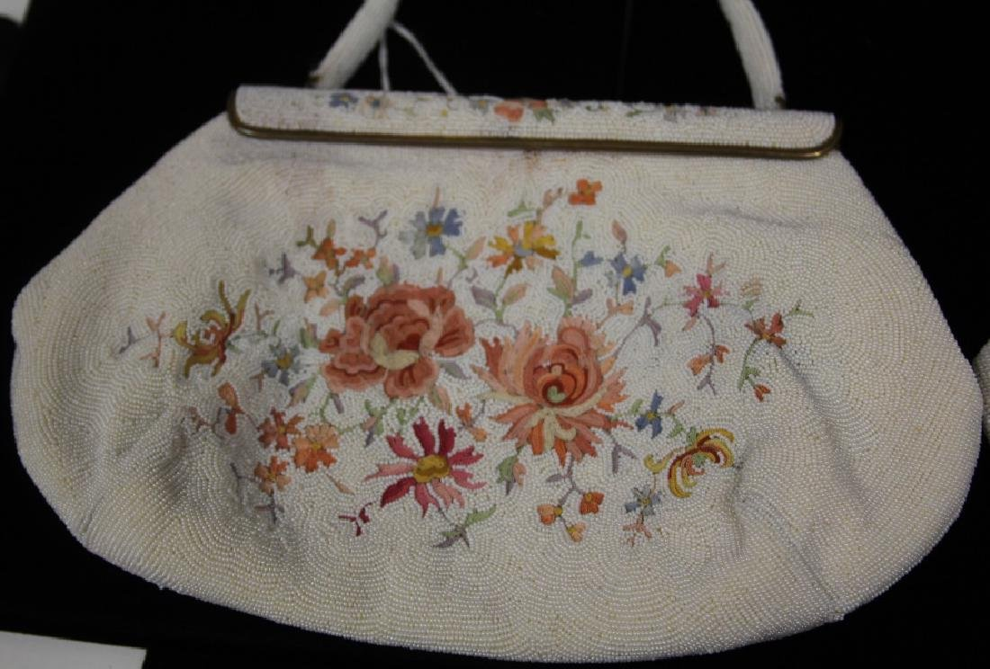 LOT OF (2) VINTAGE BEADED BAGS W/ FLORAL DESIGN - 3