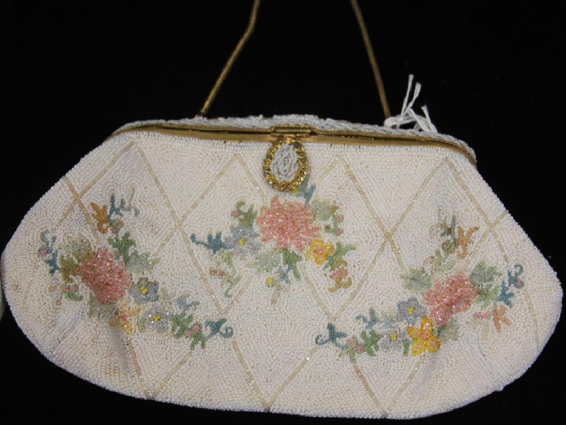 LOT OF (2) VINTAGE BEADED BAGS W/ FLORAL DESIGN - 4