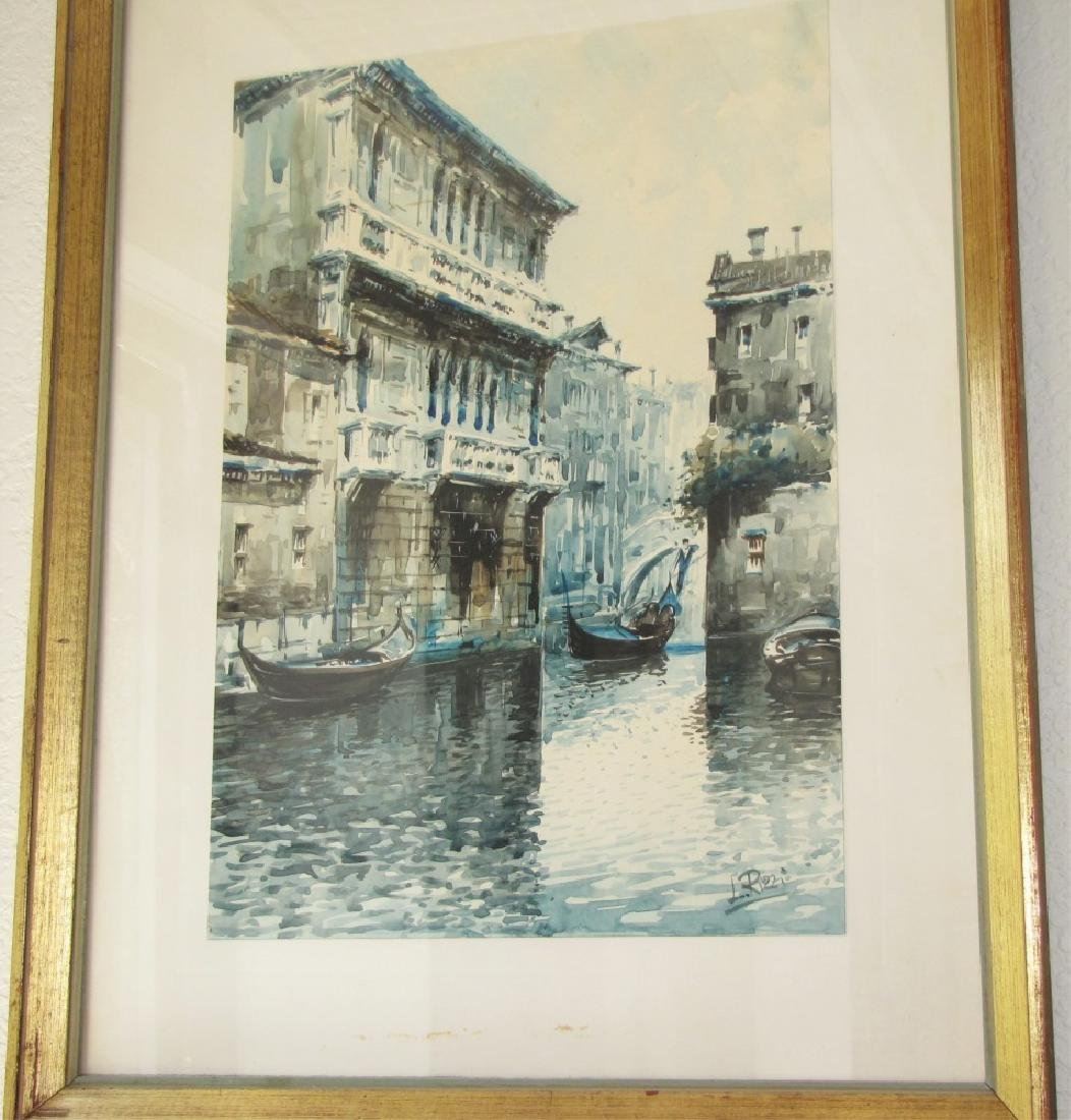 LORENZO RIZZI, FRAMED WATERCOLOR PAINTING