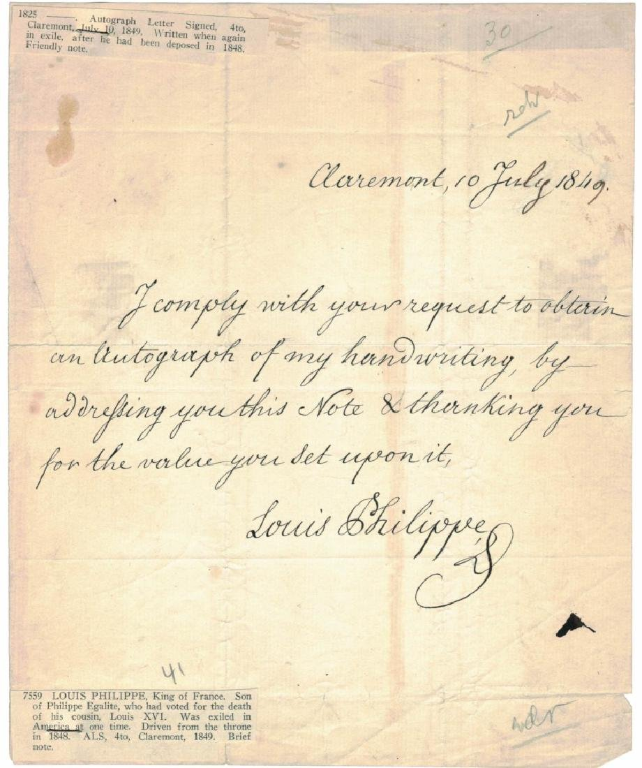 LOUIS PHILIPPE I, KING OF FRANCE, SIGNED LETTER