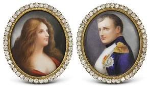PAIR OF FRAMED FRENCH PAINTINGS ON PORCELAIN