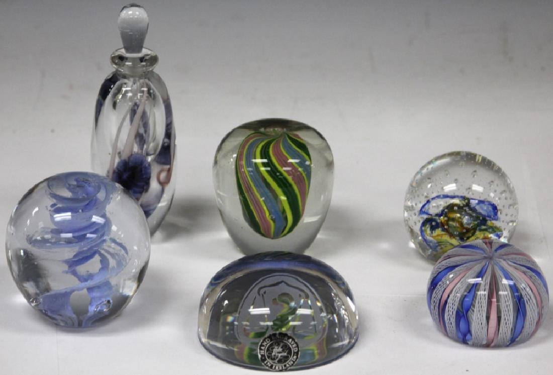 LOT OF (6) ART GLASS PAPERWEIGHTS & BOTTLE