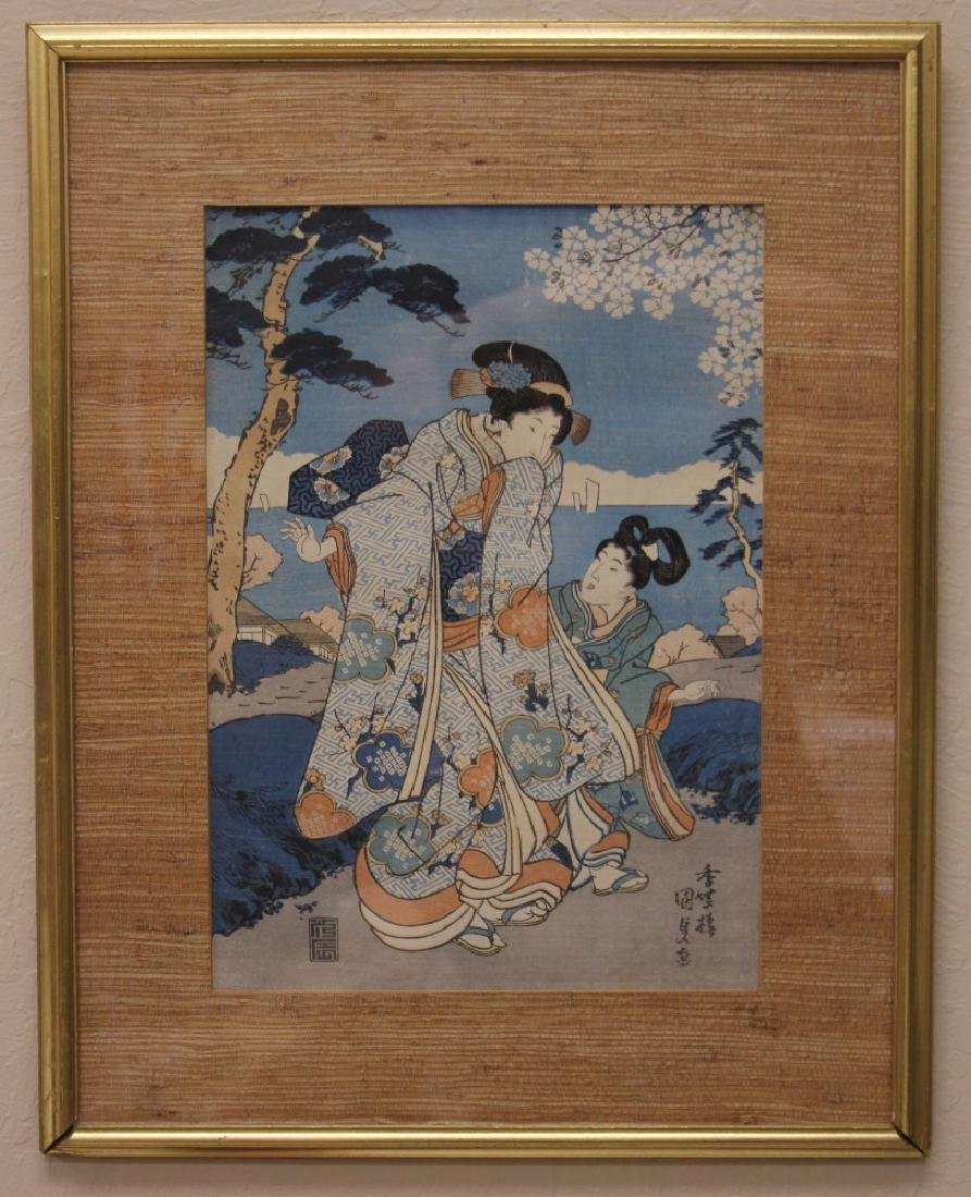 KUNISADA, 19TH C. WOODBLOCK PRINT, FRAMED