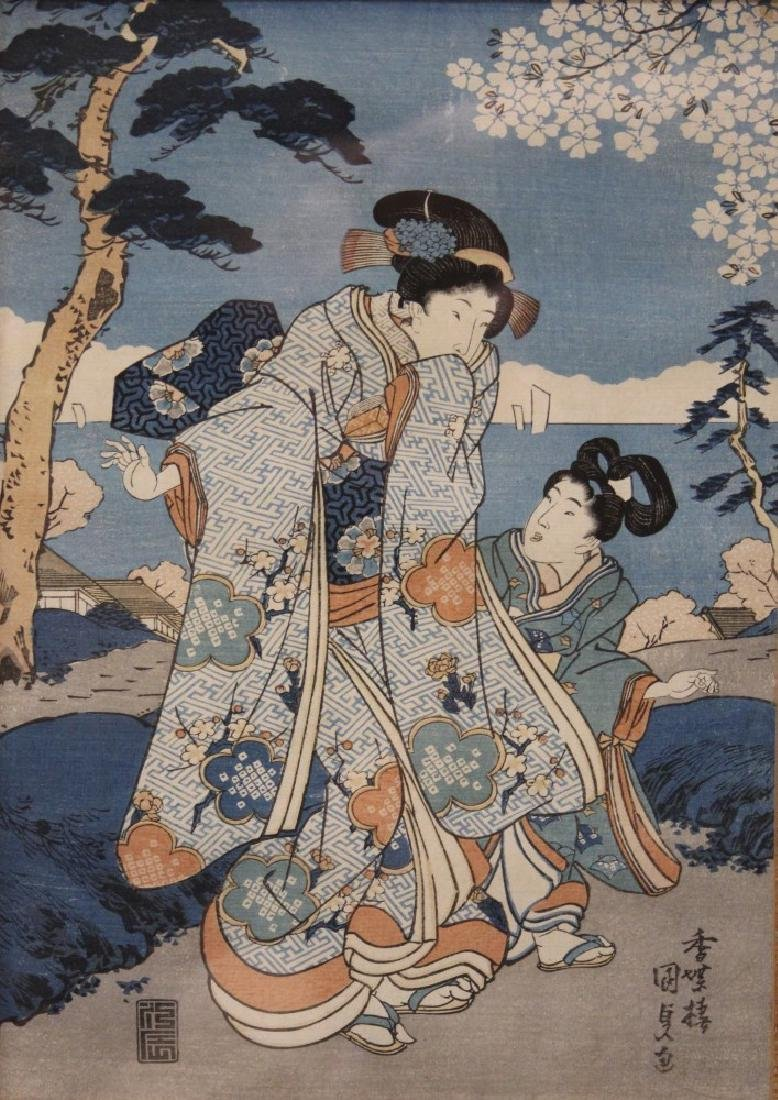 KUNISADA, 19TH C. WOODBLOCK PRINT, FRAMED - 2