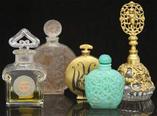 LOT OF (5) VINTAGE FRENCH PERFUME BOTTLES, LALIQUE