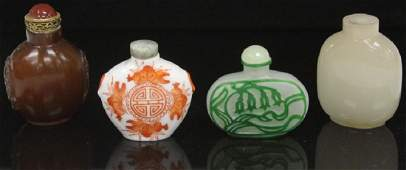 LOT OF 4 VINTAGE CHINESE SNUFF BOTTLES