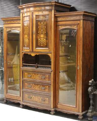 EDWARDIAN INLAID ROSEWOOD ARMOIRE, 19TH C.