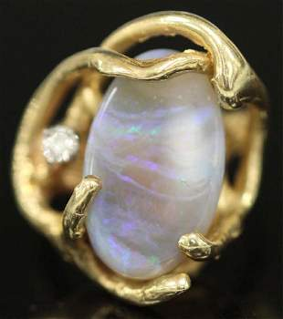 LADYS OPAL DIAMOND 14KT YELLOW GOLD RING