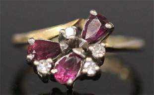 GARNET DIAMOND 14KT YELLOW GOLD RING