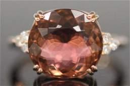 TOURMALINE  DIAMOND 14KT ROSE GOLD RING