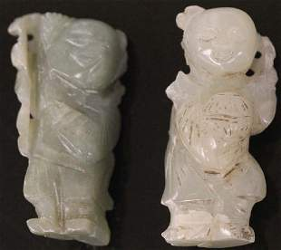 LOT OF 2 CHINESE CARVED JADE FIGURES
