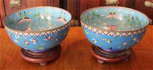 PAIR OF CHINESE CLOISONNE BOWLS W STANDS