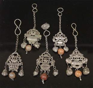 LOT OF 5 VINTAGE CHINESE SILVER PENDANT CHARMS
