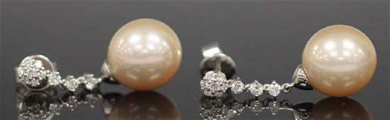 PEARL AND DIAMOND 14KT WHITE GOLD EARRINGS