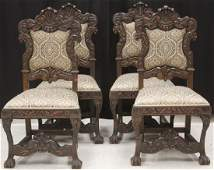SET OF (4) VINTAGE ITALIAN CARVED DINING CHAIRS