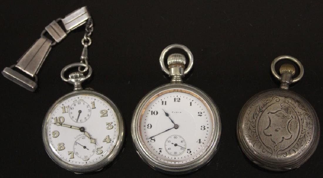 LOT OF (3) SILVER POCKET WATCHES, INCL. ELGIN