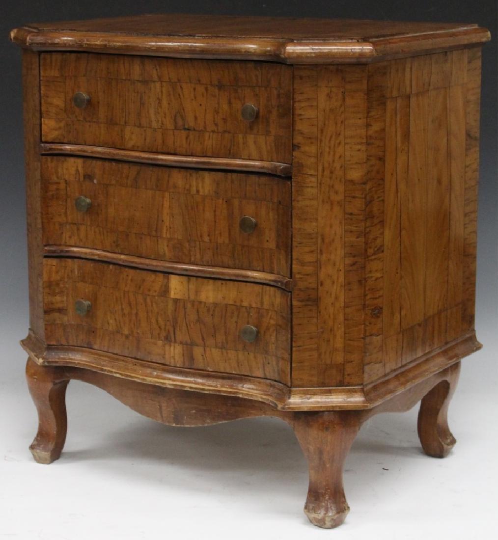CONTINENTAL WALNUT TABLE TOP DRESSER, 19TH C.