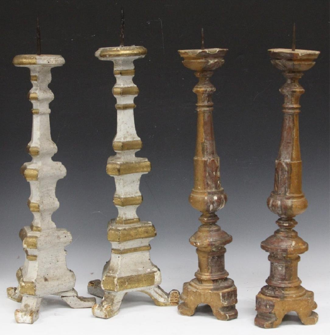 (2) PAIRS OF CONTINENTAL GESSO CANDLE STANDS