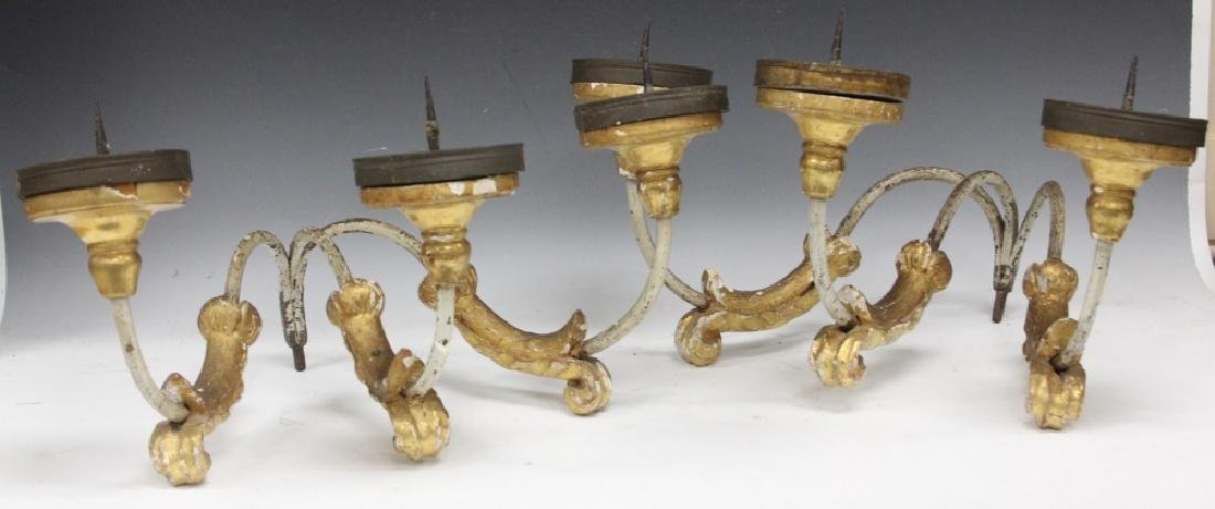 PAIR OF CONTINENTAL GESSO WALL SCONCES, 19TH C.