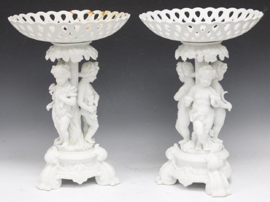"PAIR OF 19TH C. BISQUE FIGURAL COMPOTES, 16"" H"