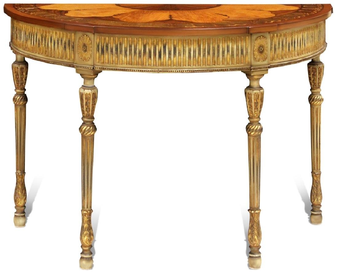 19TH C. MARQUETRY INLAID CONSOLE TABLE