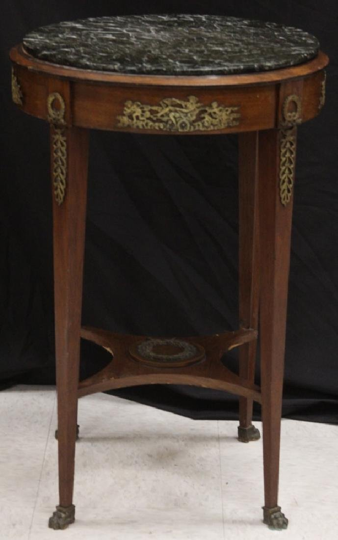 FRENCH EMPIRE MAHOGANY MARBLE TOP TABLE, 19TH C.