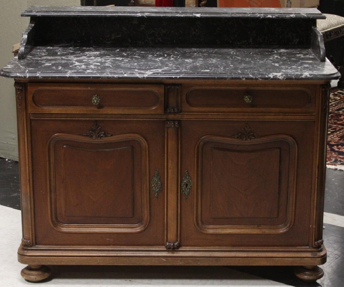 FRENCH 19TH C. MARBLE TOP WALNUT COMMODE