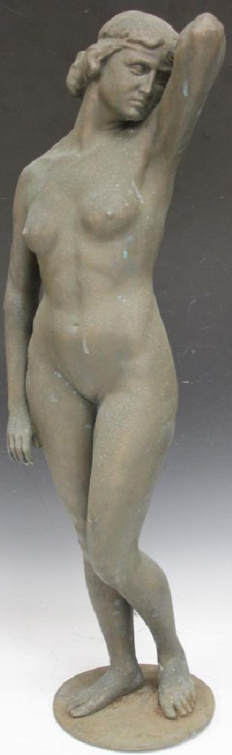 """FRENCH CAST IRON STATUE OF STANDING NUDE, 38"""" H"""