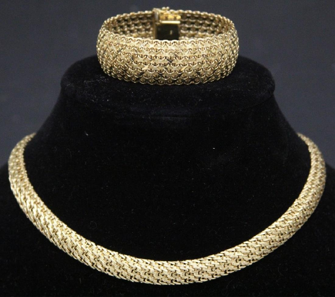 LADY'S 14KT YELLOW GOLD NECKLACE & BRACELET