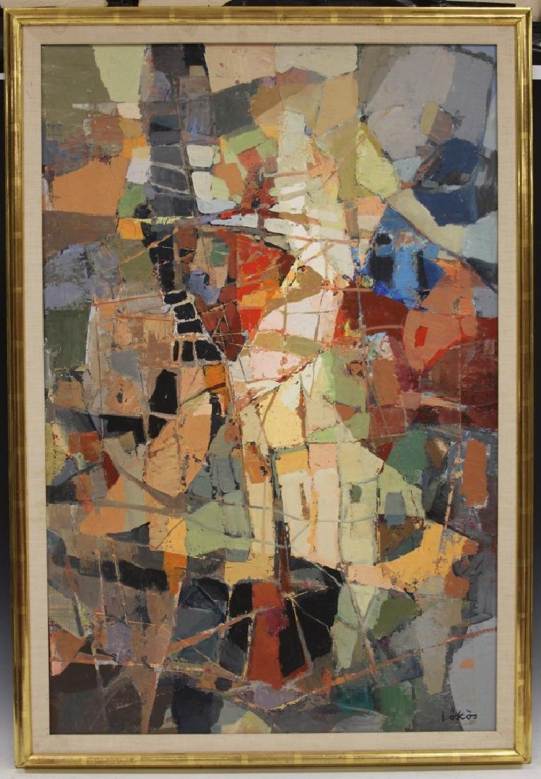STEFAN LOKOS (1913-1994),  ABSTRACT OIL ON CANVAS