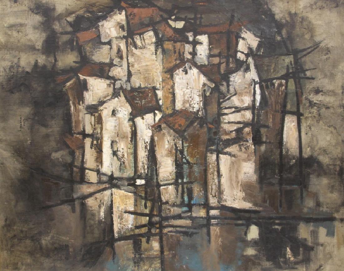 B. PRABHA (1933-2001),  ABSTRACT OIL ON BOARD - 4