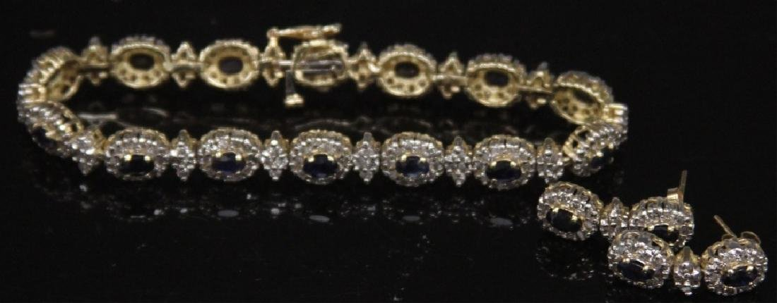 SAPPHIRE & DIAMOND 14KT GOLD BRACELET & EARRINGS