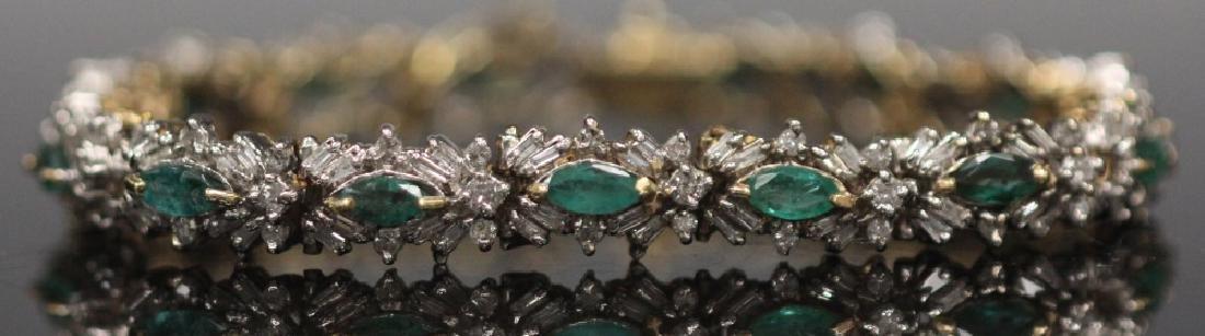LADY'S EMERALD & DIAMOND 14KT GOLD BRACELET