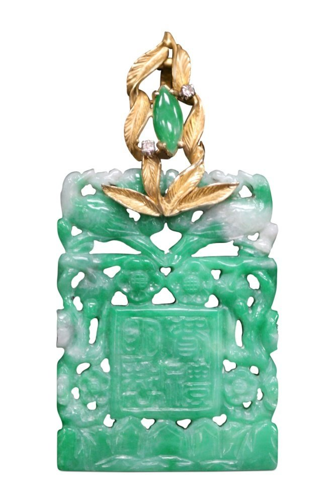 CHINESE JADE PENDANT W/ DIAMOND & 14KT GOLD