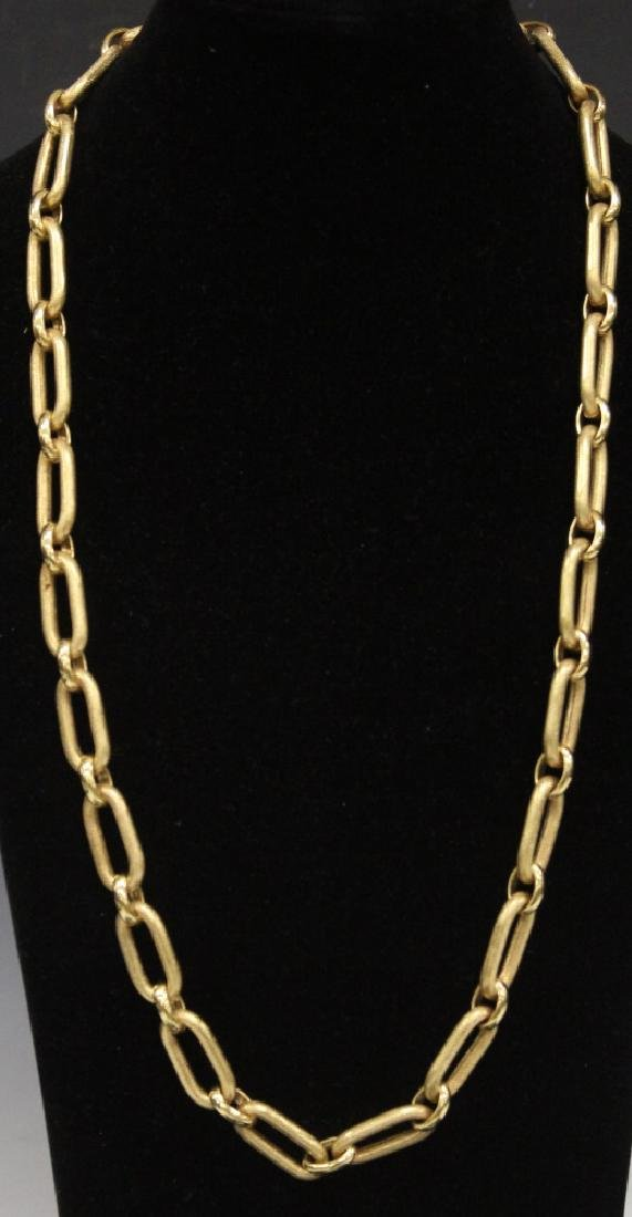 18KT YELLOW GOLD CHAIN LOOP NECKLACE, 104 GRAMS