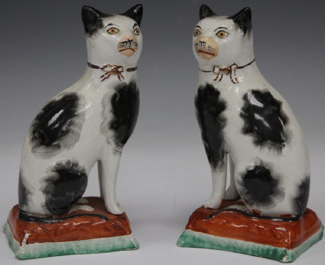 """PAIR OF 19TH C. STAFFORDSHIRE CATS, 7"""" H"""