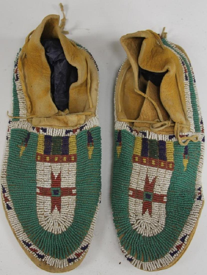 PAIR OF CHEYENNE BEADED MOCCASINS, 19TH C.
