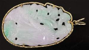 CHINESE CARVED JADE PENDANT W/ 14KT GOLD BAIL
