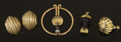 LOT OF 5 JEWELRY PIECES INCL 18KT  14KT GOLD