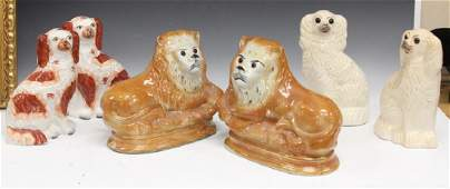 LOT OF (3) PAIRS OF 19TH C. STAFFORDSHIRE POTTERY