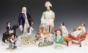 LOT OF (9) 19TH C. STAFFORDSHIRE POTTERY PCS.